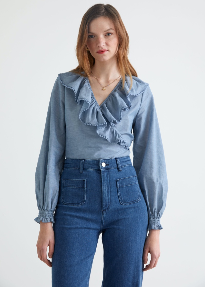 & Other Stories Ruffle Neck Wrap Blouse $89
