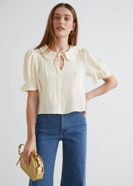 & Other Stories Textured Collared Puff Sleeve Top $129