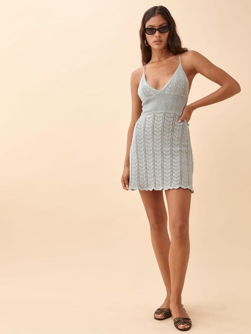Reformation Junio Open Knit Dress in Dove $198