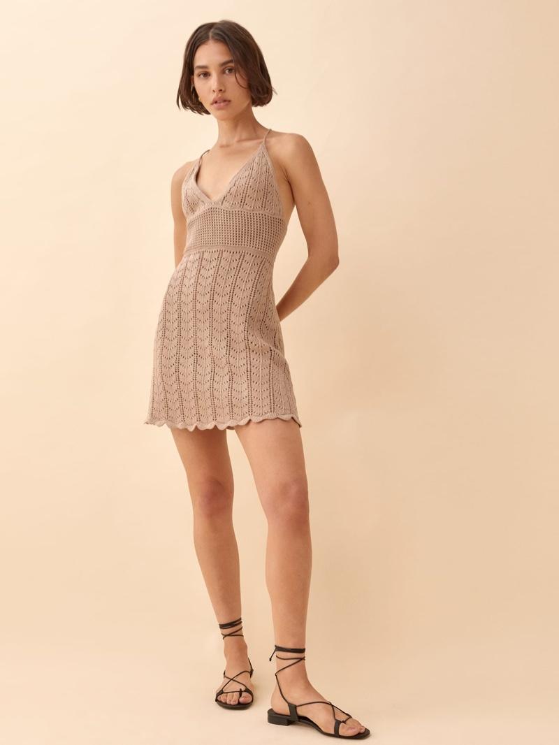 Reformation Junio Open Knit Dress in Sand $198