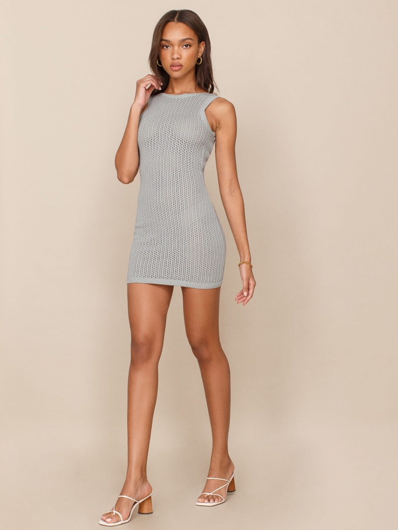 Reformation Ravello Open Knit Dress in Dove $178