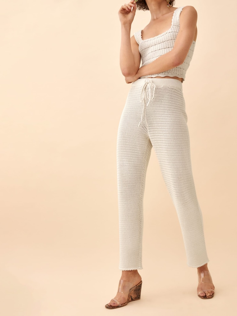 Reformation Rosso Open Knit Pant in Gossamer $178