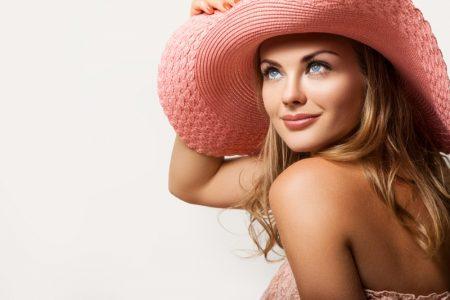 Smiling Model Beauty Pink Hat Summer