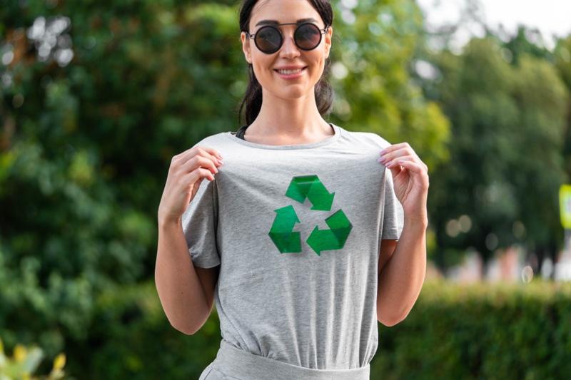 Smiling Woman Recycling Symbol Green Grey Graphic T-Shirt