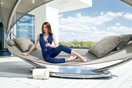 Stylish Model Blue Outfit Outdoor Hammock Furniture