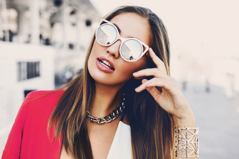 Stylish Woman Cat Eye Sunglasses Chain Necklace Cuff Bracelet Accessories