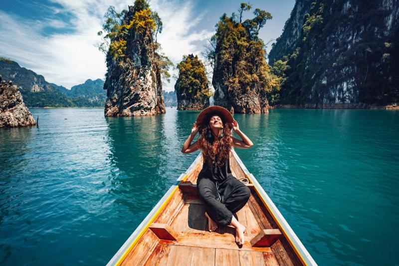 Stylish Woman Traveling Asia Boat Outdoors