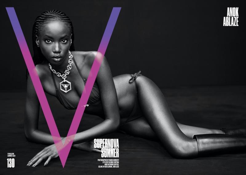 Anok Yai on V Magazine #130 Summer 2021 Cover.