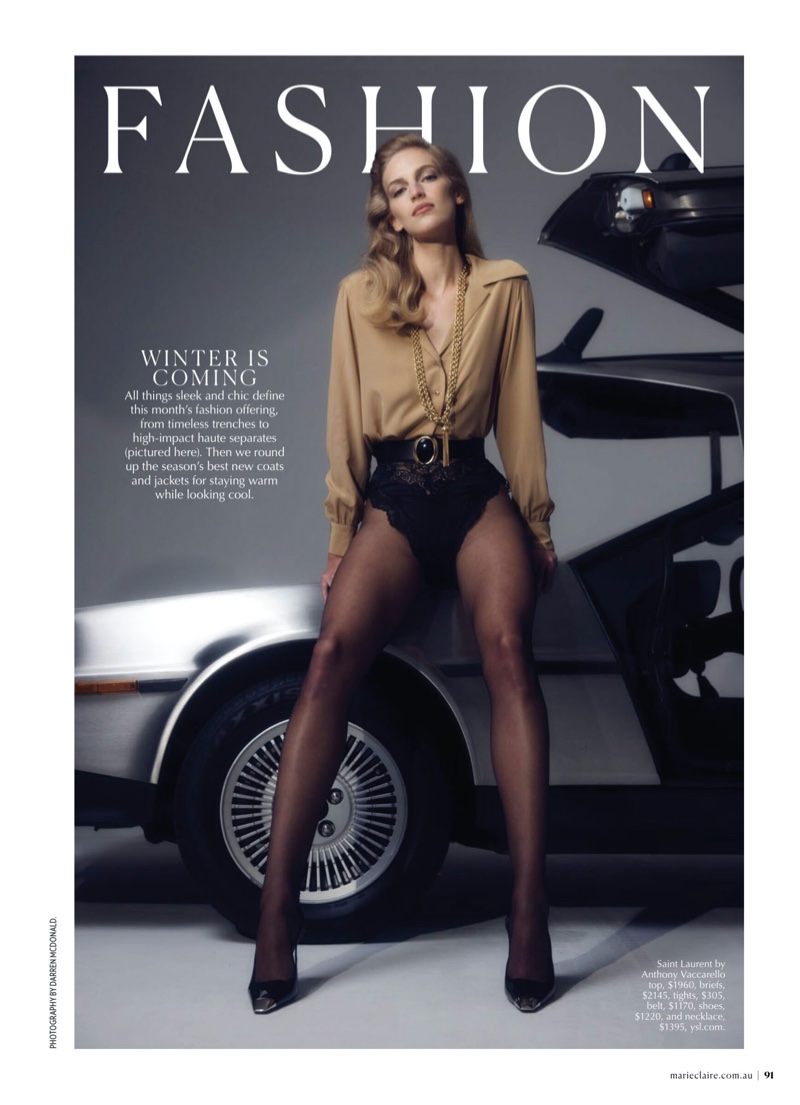 Vanessa Axente Charms in Saint Laurent Looks for Marie Claire Australia