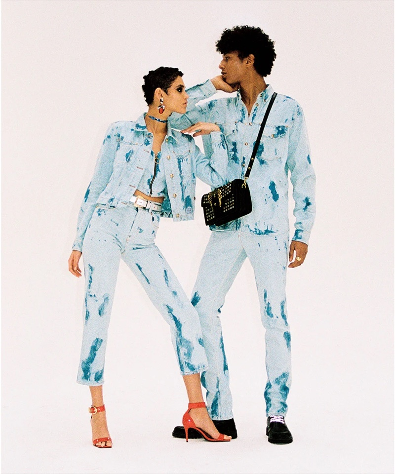 Kerolyn Soares and Yassine Jaajoui pose for Versace Jeans Couture spring-summer 2021 campaign.