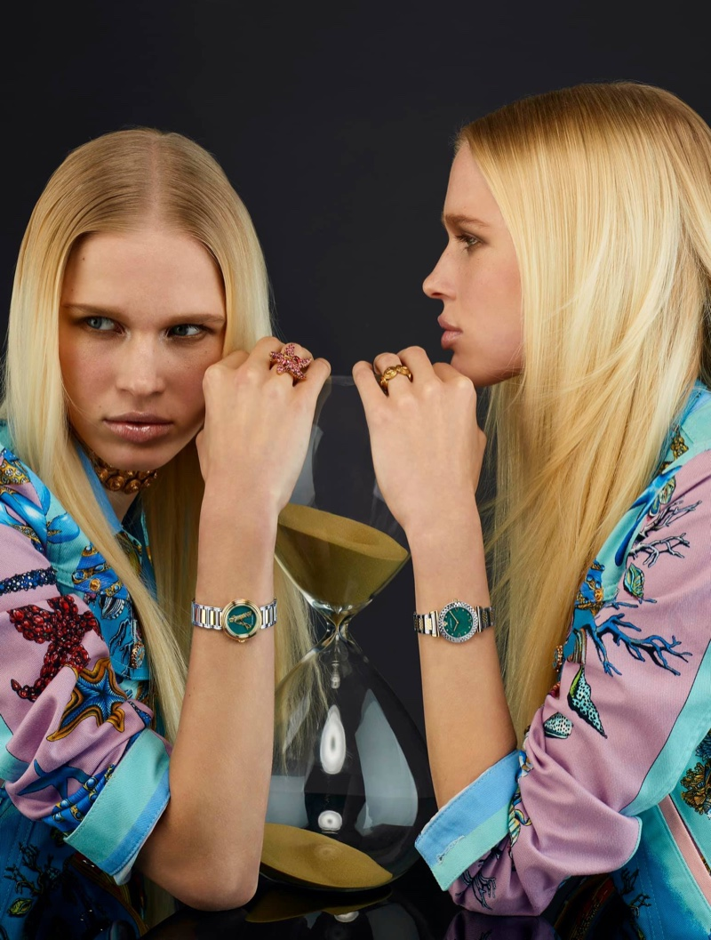 Fien Kloos stars in Versace Watches spring-summer 2021 campaign.