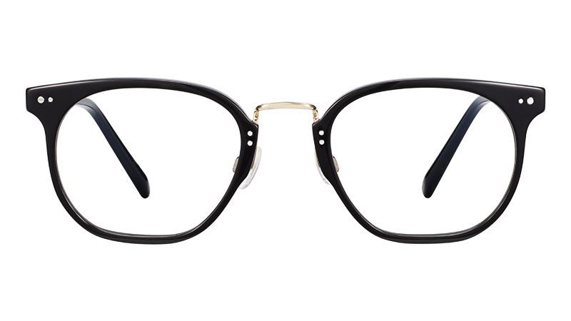 Warby Parker Halton Glasses in Jet Black with Polished Gold $145