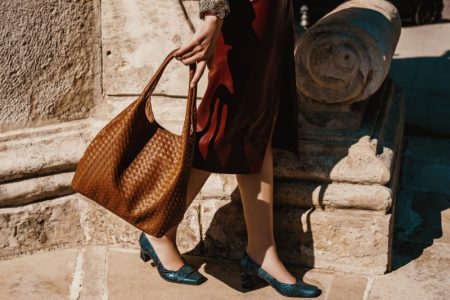 Woman Brown Leather Bag Leather Python Shoes
