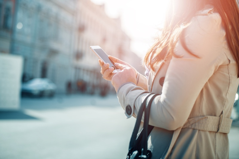 Woman City Looking Phone Travel