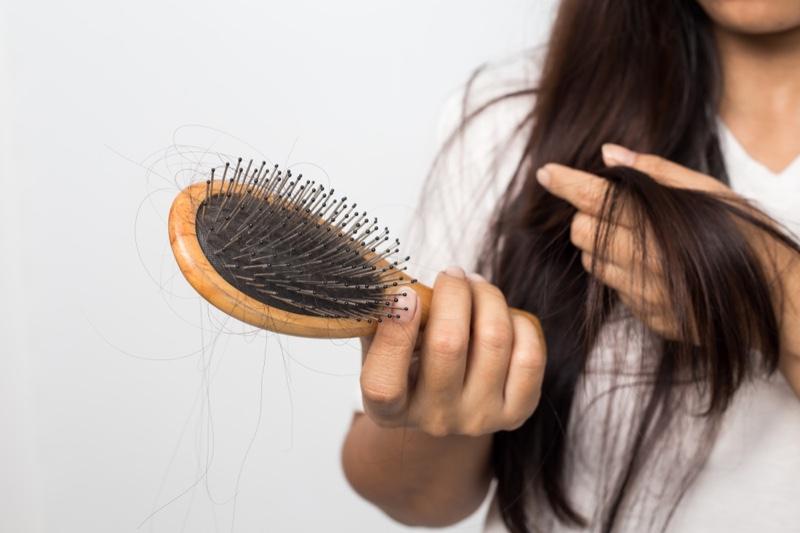 Woman Hair Loss Brush Concept