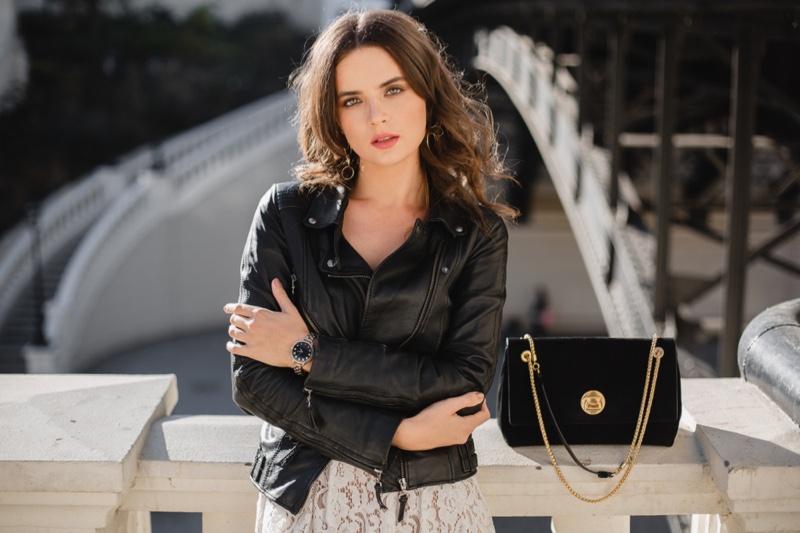 Woman Leather Jacket White Dress Bag Sunny