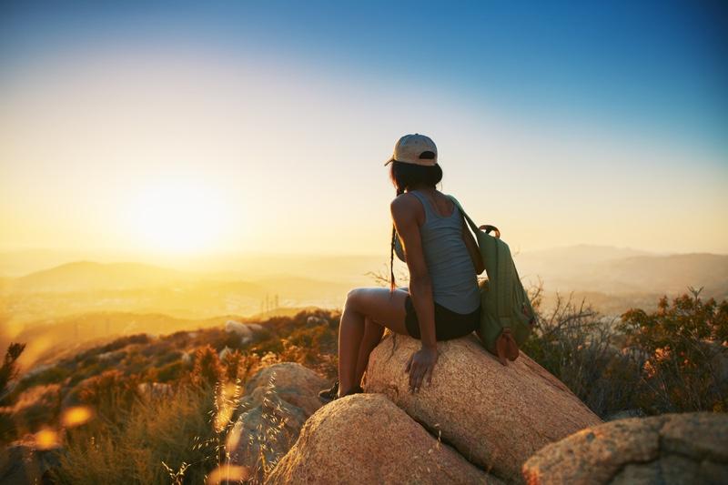 Woman San Diego Back Sitting Rock
