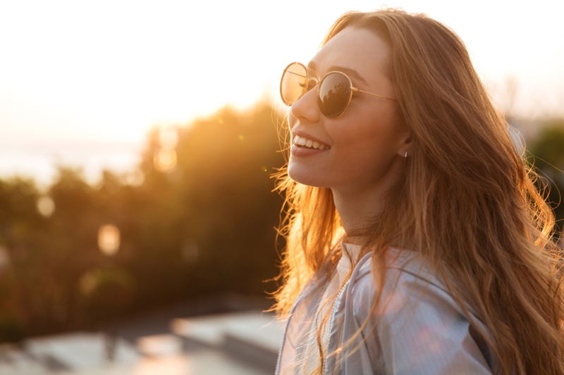 Woman Sunglasses Outdoors Smile Attractive