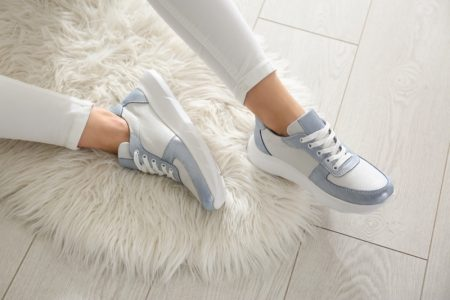 Woman Wearing Stylish Blue White Sneakers Cropped