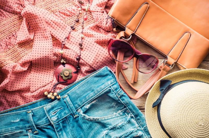 Women's Clothes Lying Wooden Floor Accessories