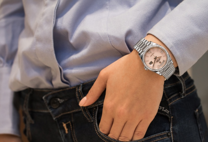 Women's Rolex Watch Silver Pink Face