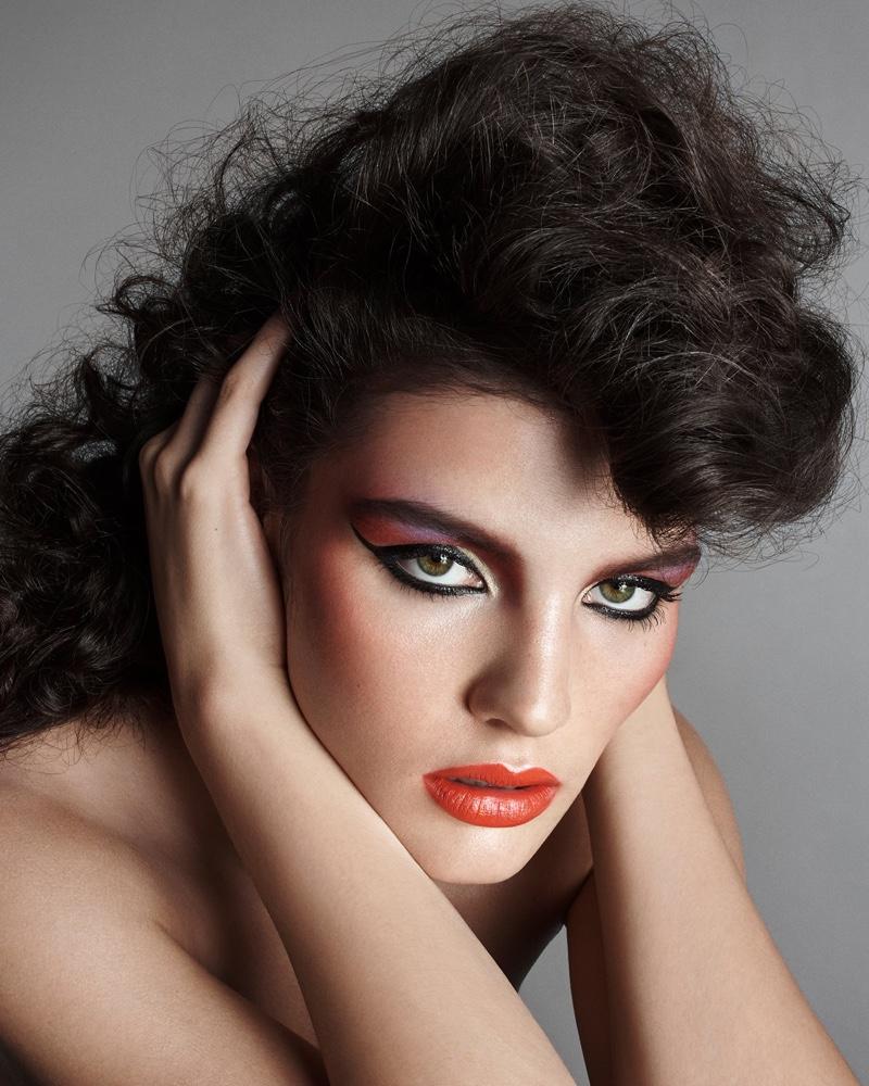 Lola Nicon models dramatic shades for Zara Beauty campaign.