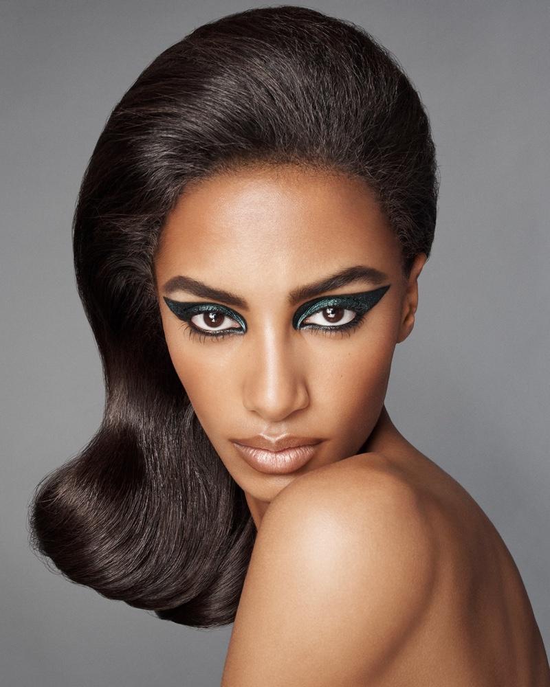 Sacha Quenby wears green cat eye for Zara Beauty campaign.