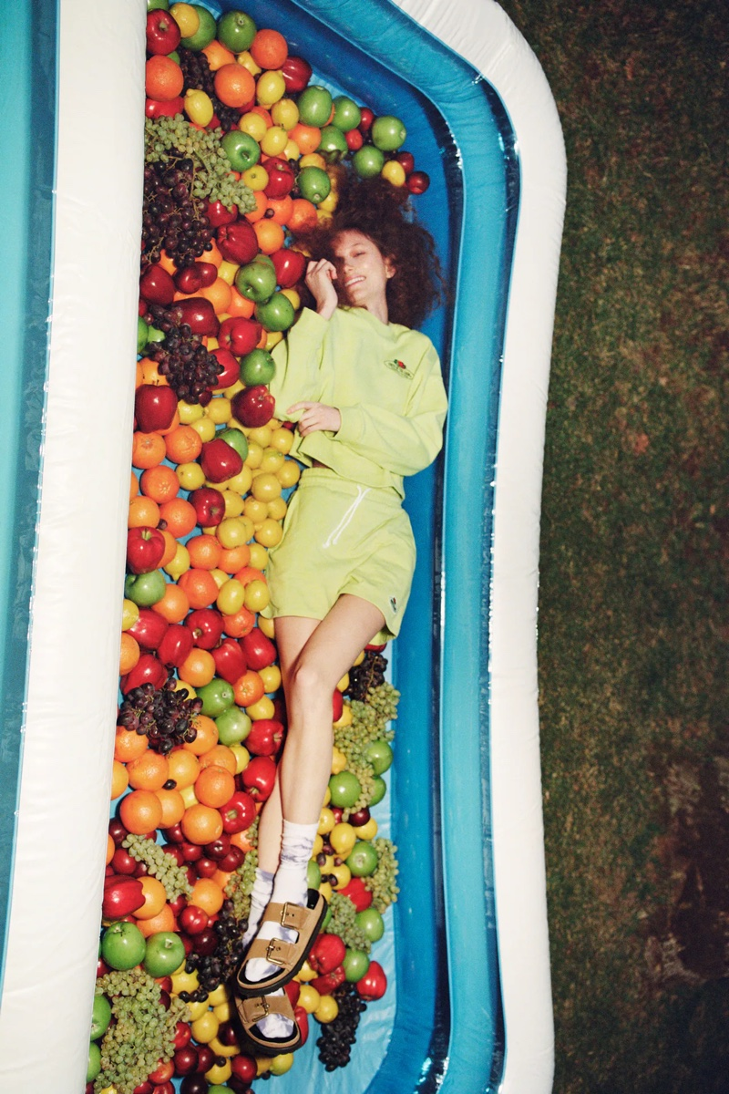 Zara x Fruit of the Loom Crop Sweatshirt & Plush Shorts.