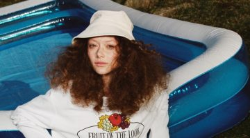Sara Grace Wallerstedt poses in Zara x Fruit of the Loom collaboration.