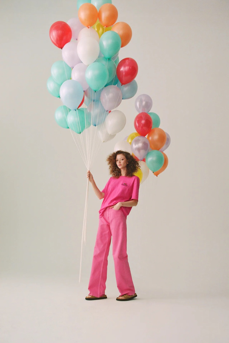 Sara Grace Wallerstedt looks pretty in pink for Zara x Fruit of the Loom collaboration.