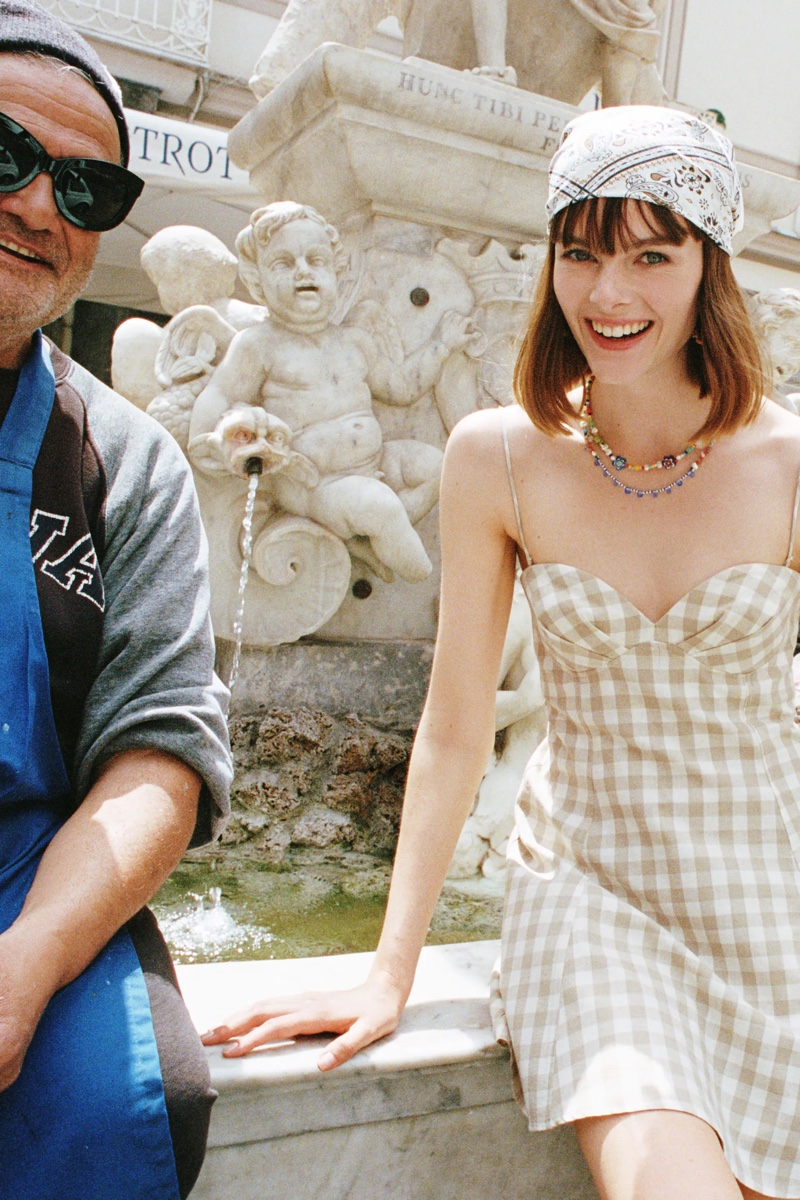 Aylah Peterson wears gingham print dress from Zara.