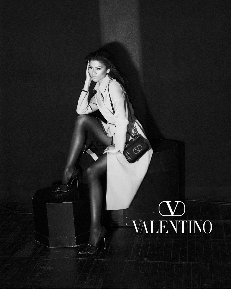 Posing at the Palace Theater, Zendaya fronts Valentino Roman Palazzo campaign.