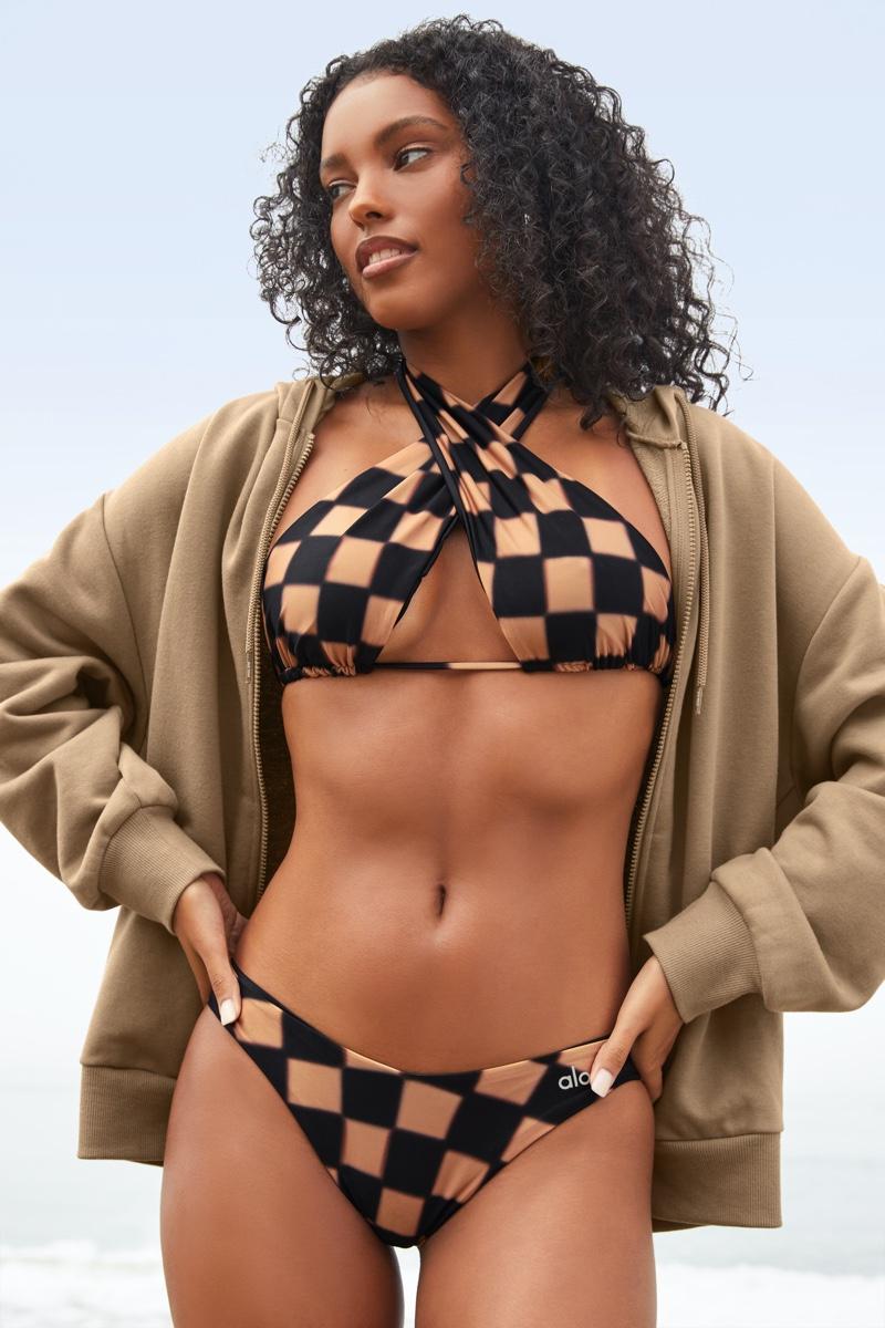 Checkered prints stand out in Alo x Frankies Bikinis swimwear.