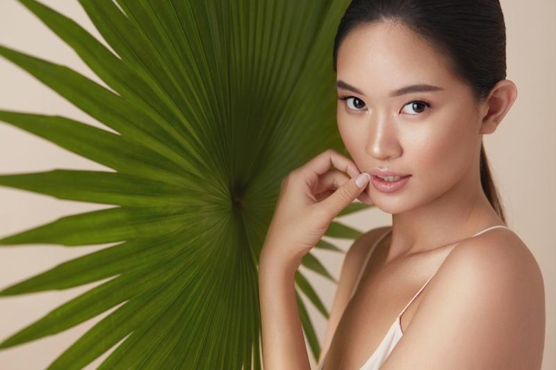 Asian Model Glowing Skin Beauty Leaf Natural