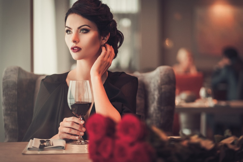 Attractive Woman Black Dress Dinner Wed Wine Glass