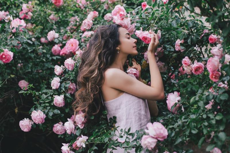 Beautiful Woman Pink Flowers Rose Garden Long Hair