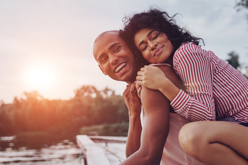 Black Love Couple Embrace Happy