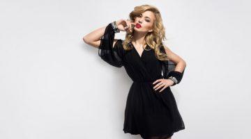 Blonde Model Black Open Sleeve Mini Dress Glam