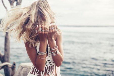 Blonde Model Boho Silver Jewelry Fringe Top