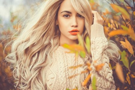 Blonde Woman Cable Knit Sweater Outdoors