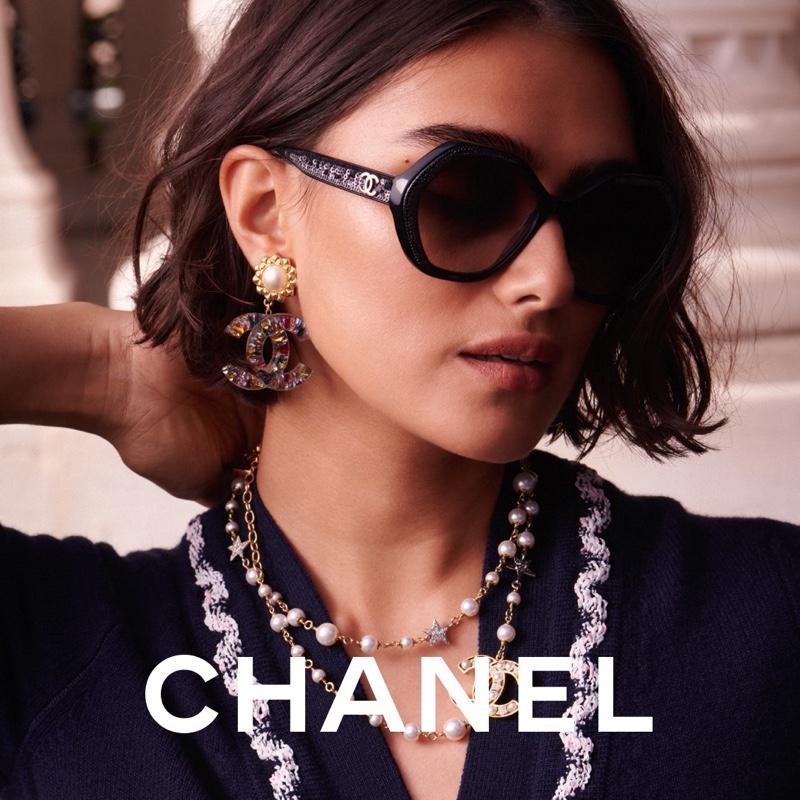 Model Jill Kortleve wears sunglasses for Chanel Eyewear 2021 campaign.