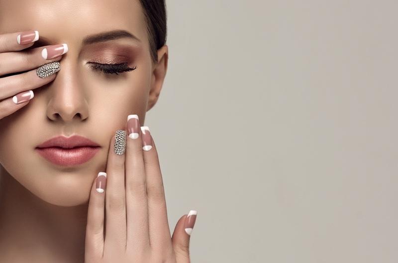 Closeup Beauty Model French Manicure Trendy Nail Art
