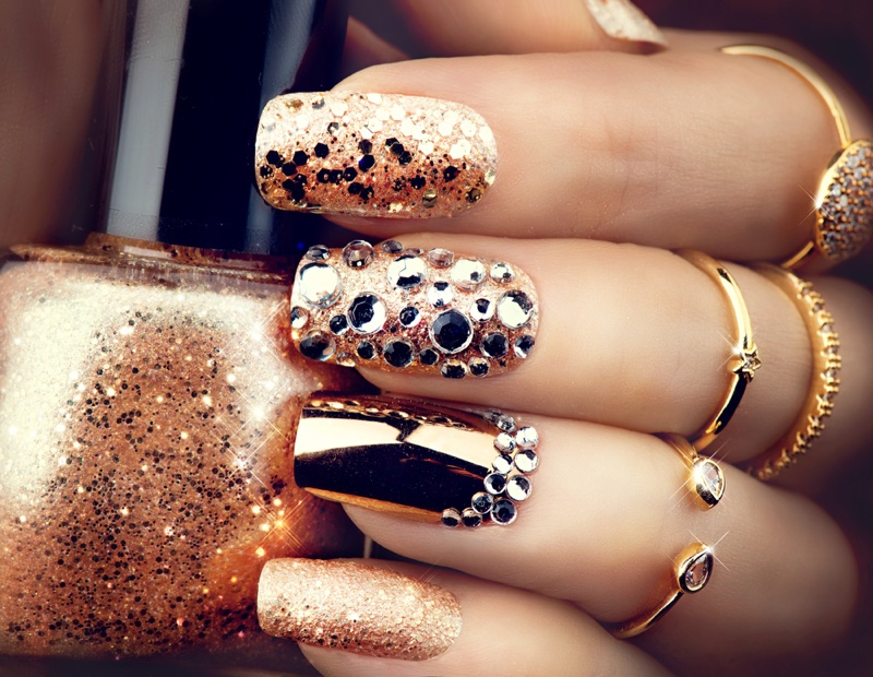 Closeup Copper Nails Glitter Metallic Rhinestones Rings