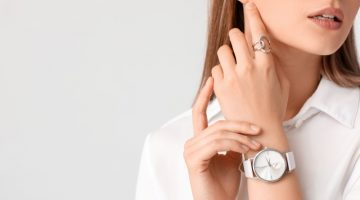 Cropped Model White Watch Ring Accessories