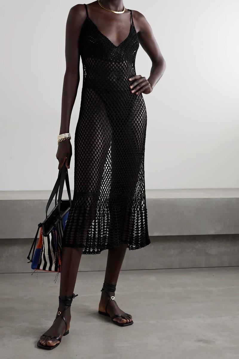 Cult Gaia Silena Crochet-Knit Midi Dress in Black $618