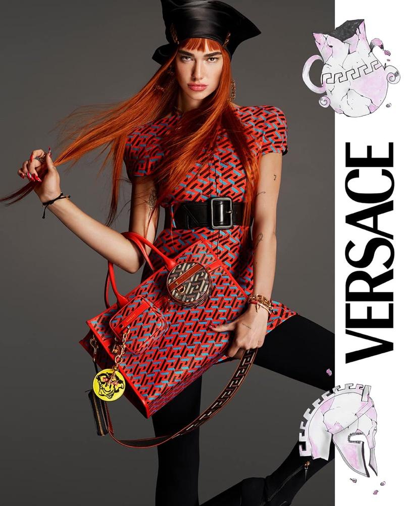Singer Dua Lipa poses for Versace fall-winter 2021 campaign.
