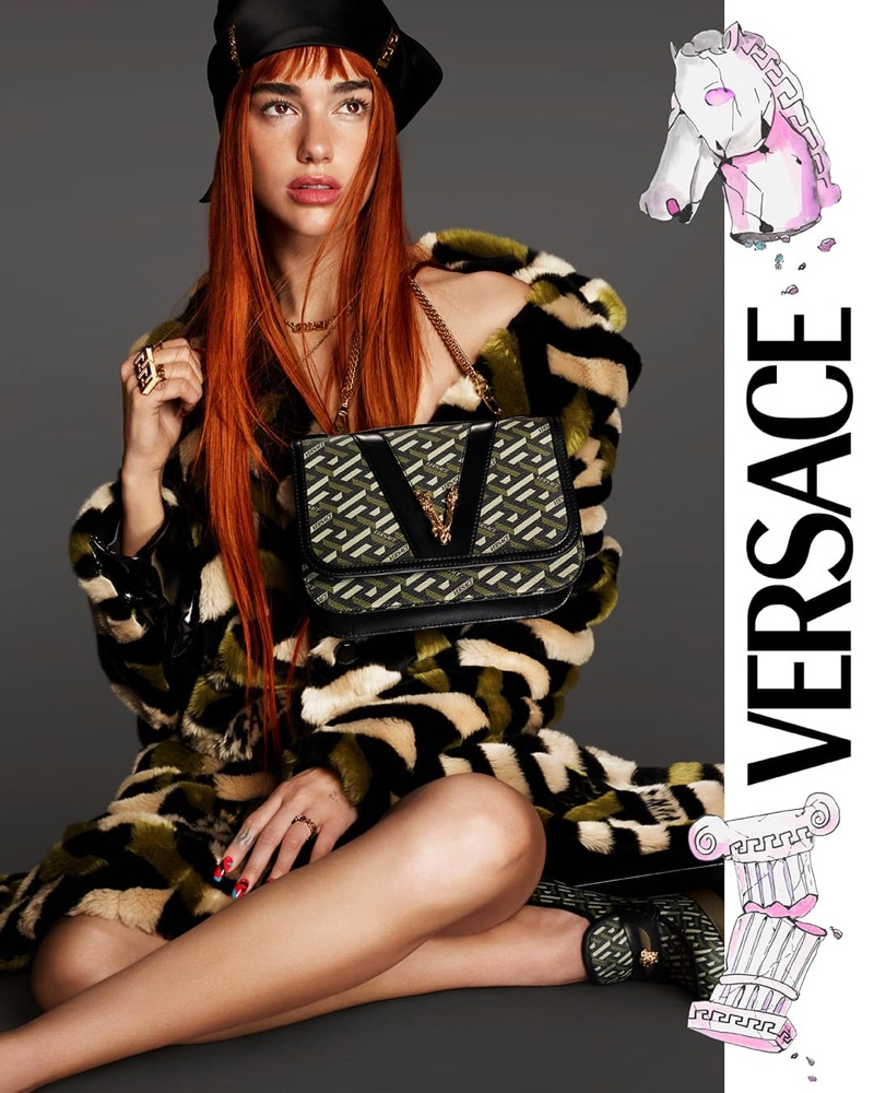 Rocking red hair, Dua Lipa fronts Versace fall 2021 campaign.