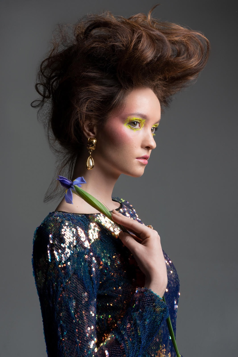 Naeem Khan Sequin Sheath Dress and Vintage Chanel Pearl Teardrop Earrings. Photo: Jeff Tse