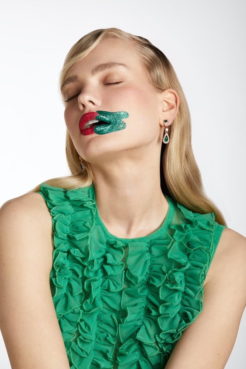 Emma Barley Models Glitter Beauty for Latest Magazine