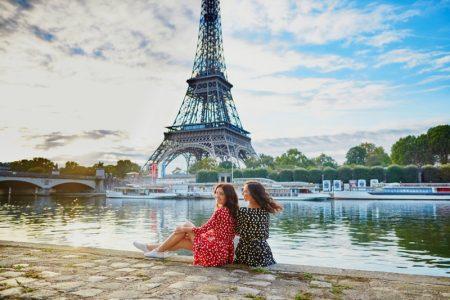 Girlfriends Polka Dot Dresses Eiffel Tower Travel